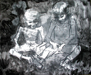 Two Children Mixed Media on Canvas 20 x 24 in 2004