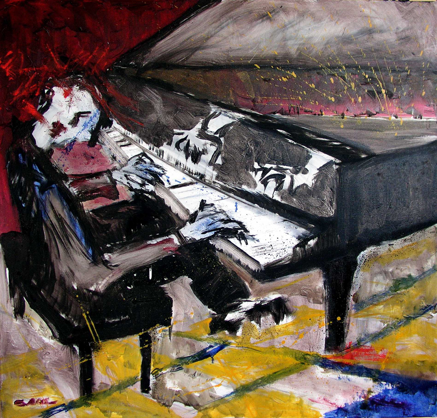 Pianist at 10 PM Oil on Canvas 38 x 40 in