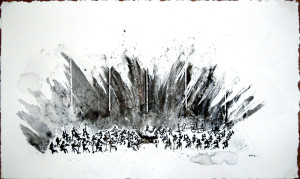 Brahms' Piano Concerto B Flat Opus 83 Ink & Wax on Paper 12 x 20 in