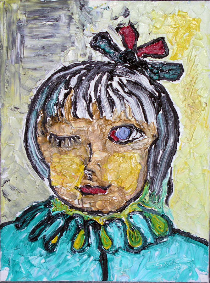 Girl with One Eye and Red Bow Oil on Canvas 12 x 9 in 1969