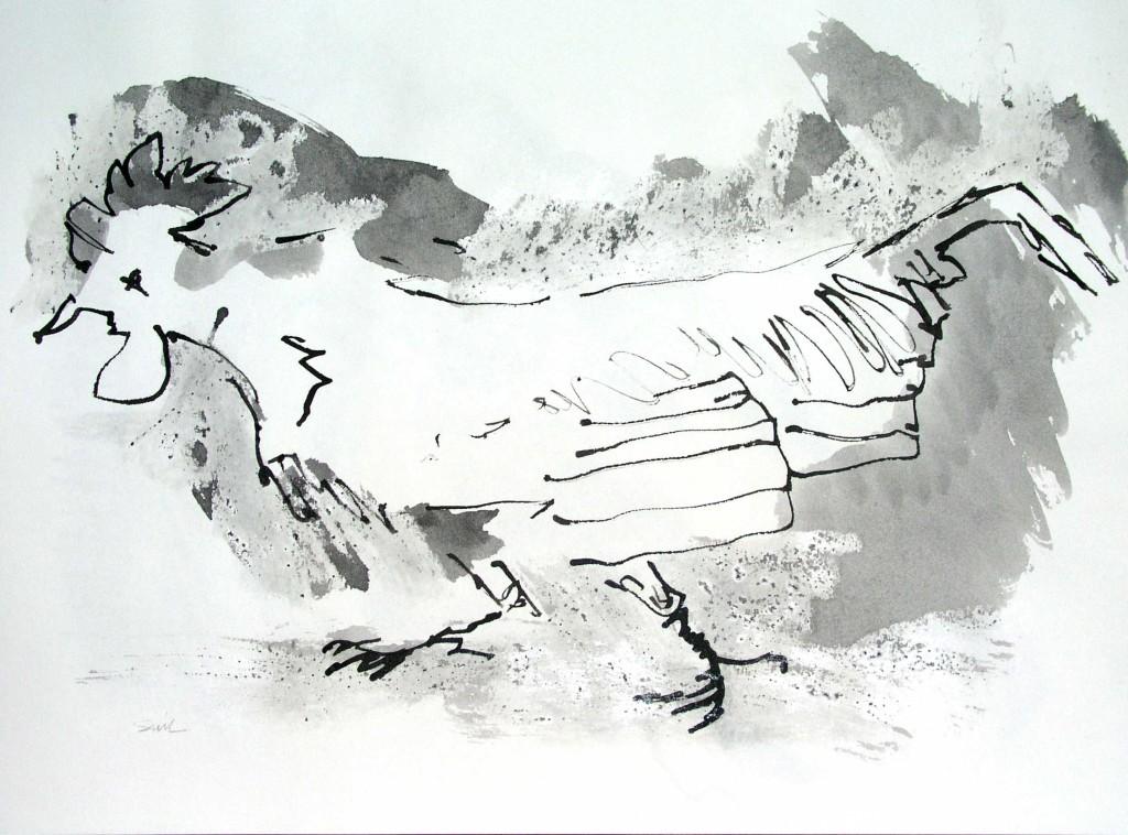 Sacrificial Cockerel; ink &wax; 10.5x13.5 in;2007